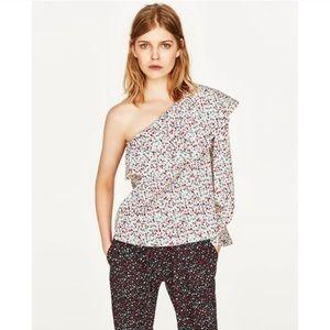 Zara One Shoulder Floral Top